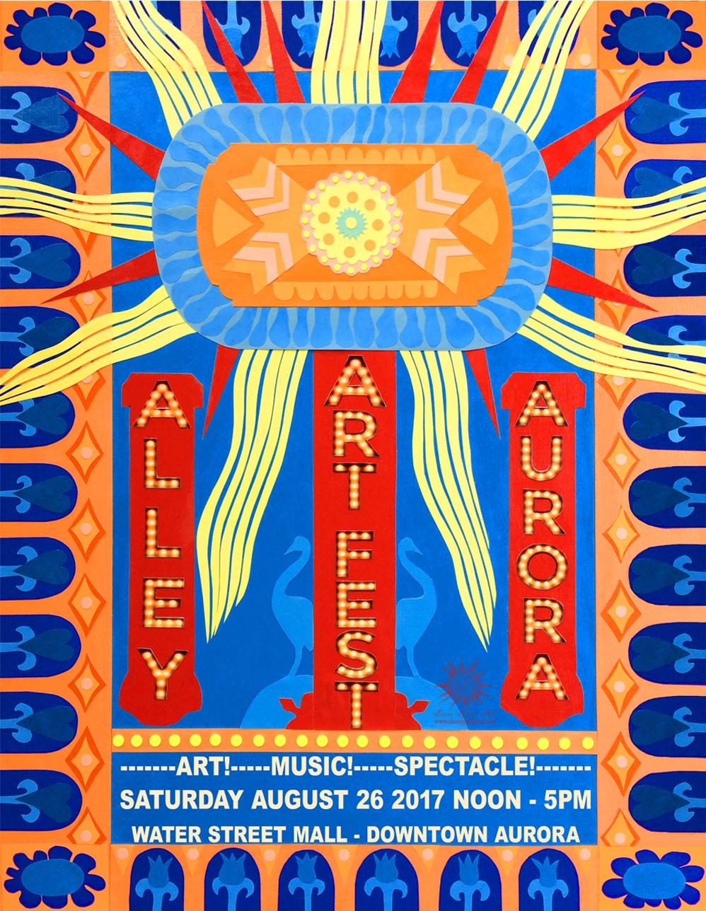 Alley Art Fest Poster Design 2017 based on Paramount Theater Light by Laura Lynne Art
