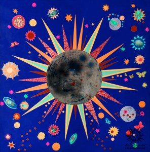 Blue and Orange Total Solar Eclipse Paper Collage Art Print by Laura Lynne Art