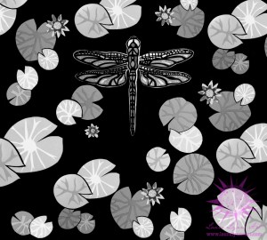 Illustration of black and white papercut collage dragonfly flying over lily pads and lotus flowers