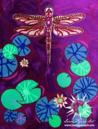 dragonfly art by mixed media collage artist laura lynne with hot pink mint green and purple colors