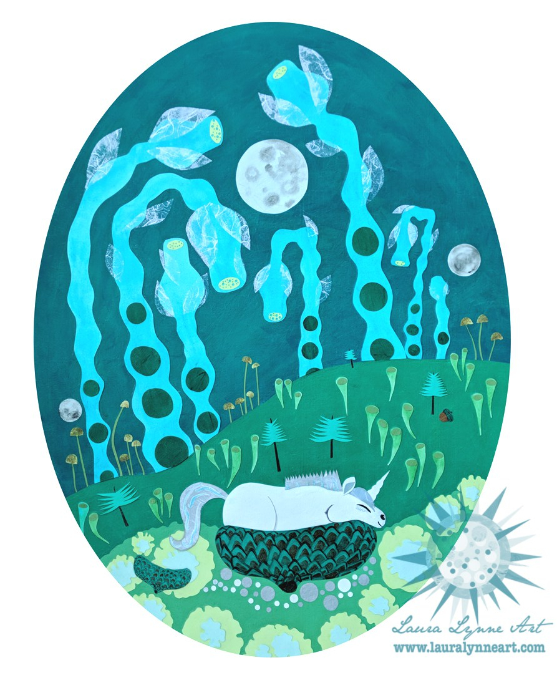 Baby Unicorn Sleeping in an Acorn Cap with Three Full Moons, Mushrooms, Flowers, and Fungi