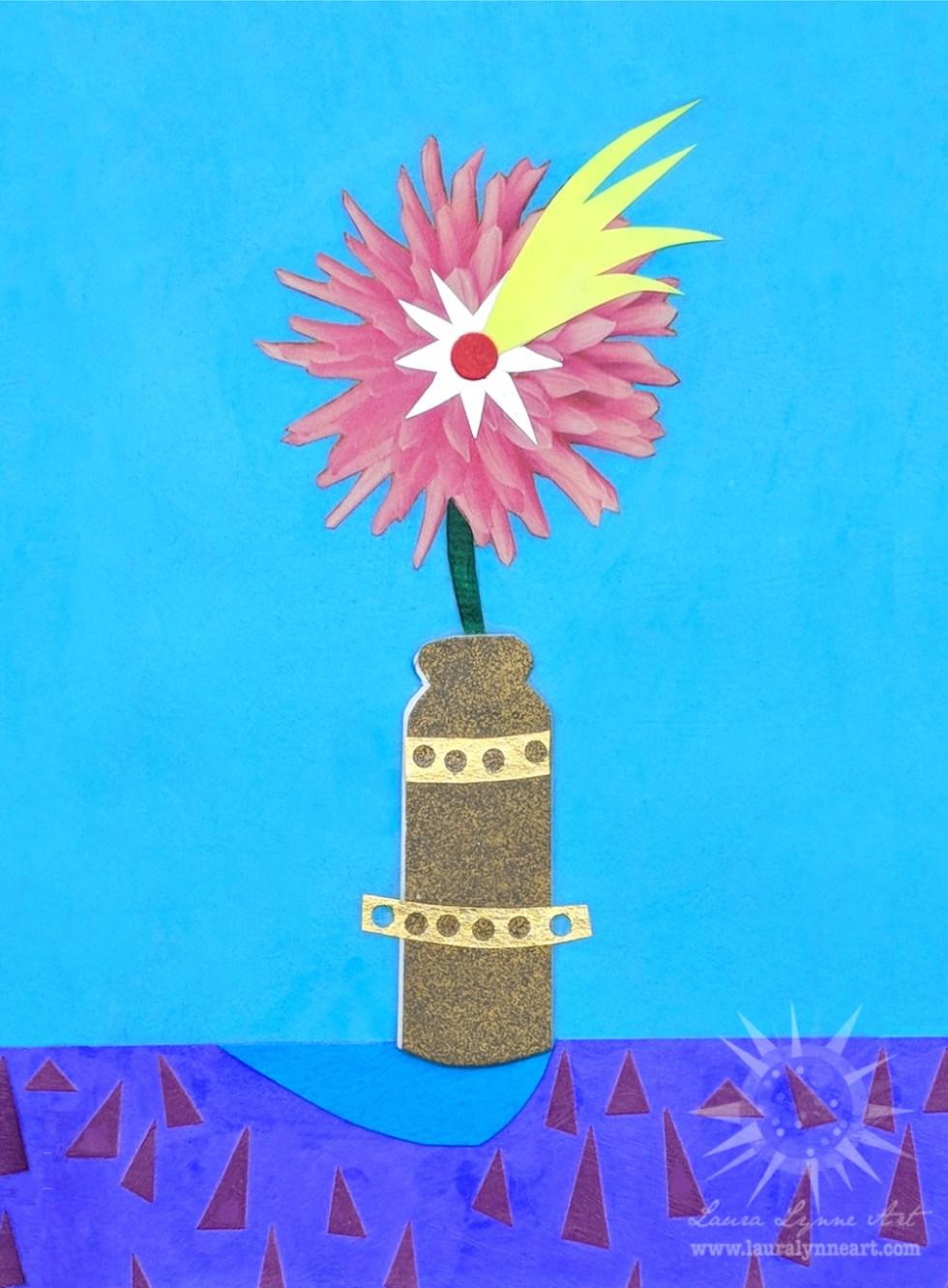 Shooting Star Flower in Gold Vase Collage Still Life Mid Century Modern Laura Lynne Art