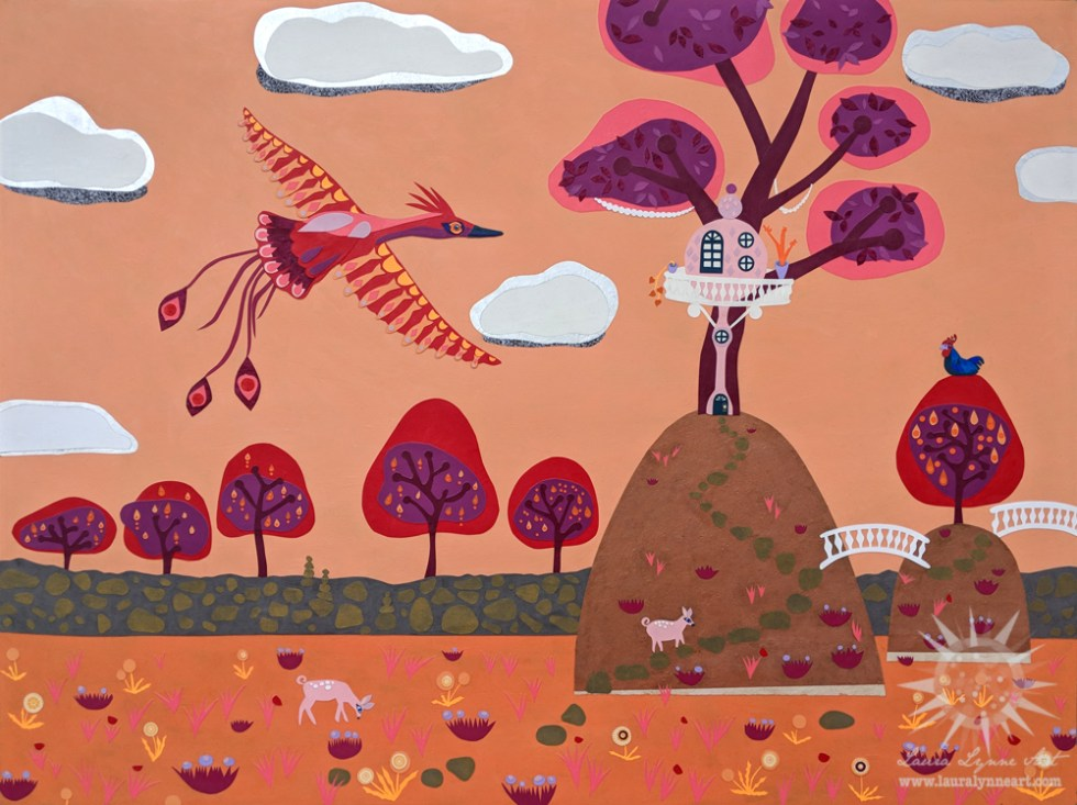 Red phoenix on orange sky with whimsical animals and treehouse mixed media collage painting illustration