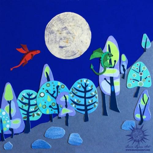 Baby dragon mixed media nursery art illustration.  Original mixed media collage artwork.