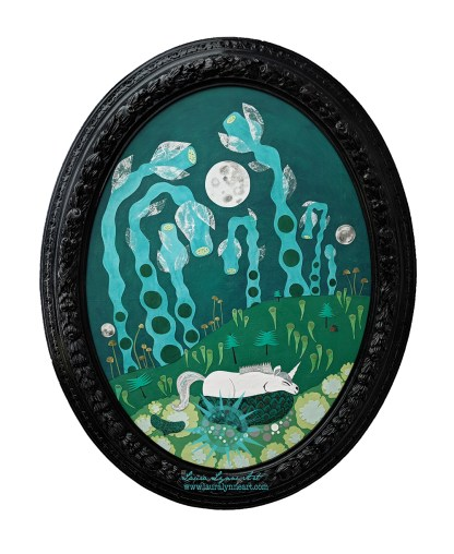 Oval Unicorn Mixed Media Wall Art