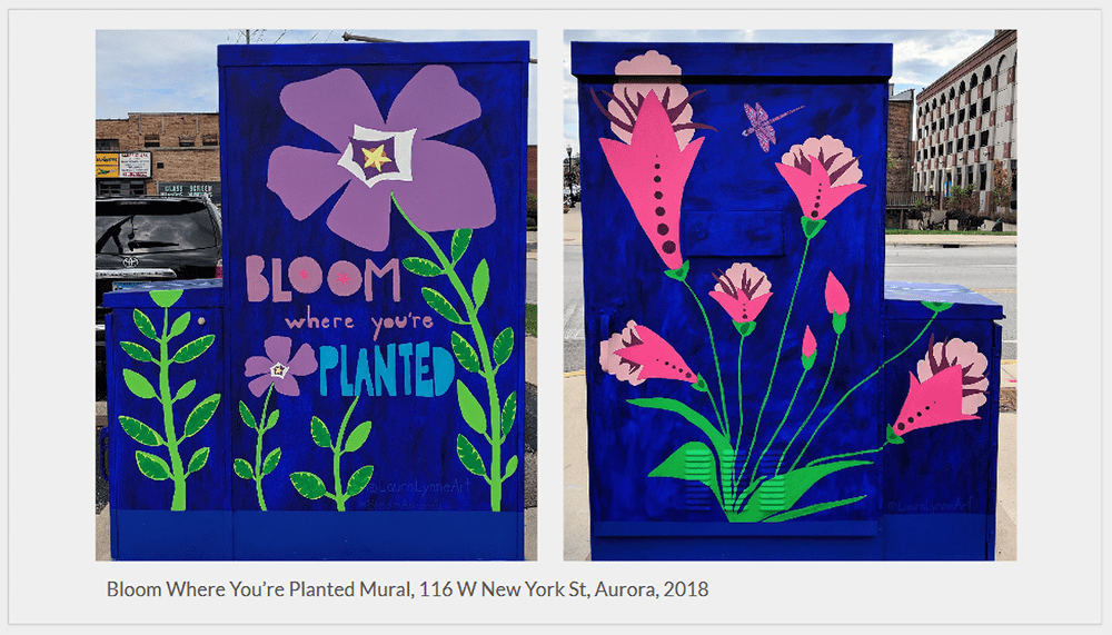 Utility Box Mural with flowers and Bloom Where You Are Planted Quote