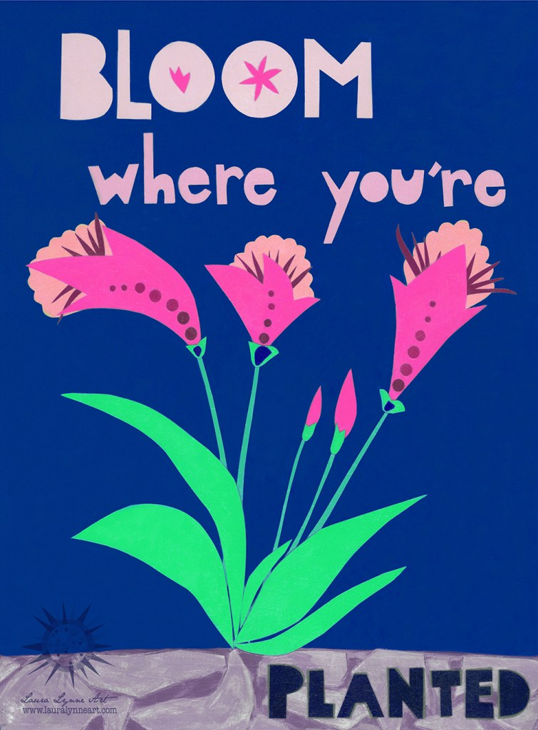 Bloom Where You're Planted Quote Wall Art in Navy Blue and Pink