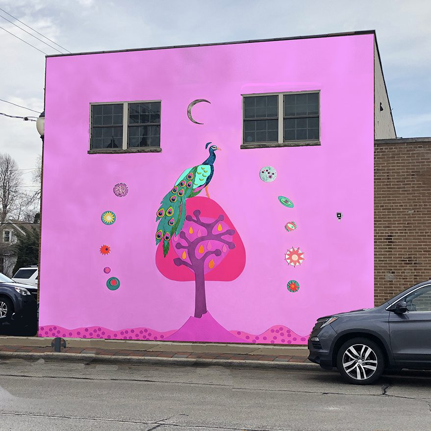 Celestial Hot Pink Peacock Mural Plan Mock-Up