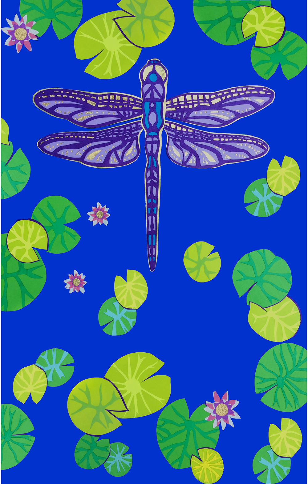 Blue and purple dragonfly with water lillies and lotus flowers for tall vertical wall