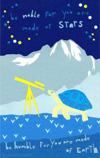 Oak Park Mini Mural Turtle Telescope with Quote Print