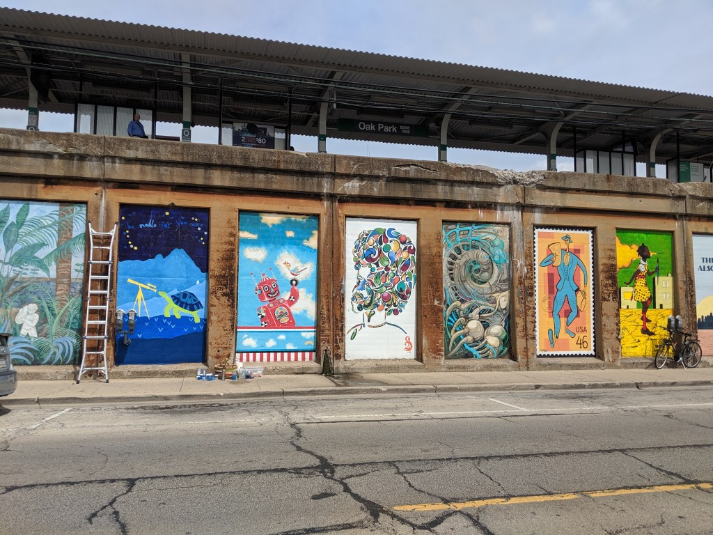 Oak Park Illinois Murals by CTA Green LIne Stop