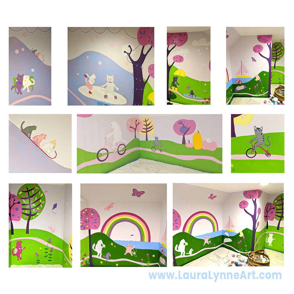 cat mural play room