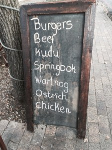 I love the menu at this little restaurant in Stellenbosch.