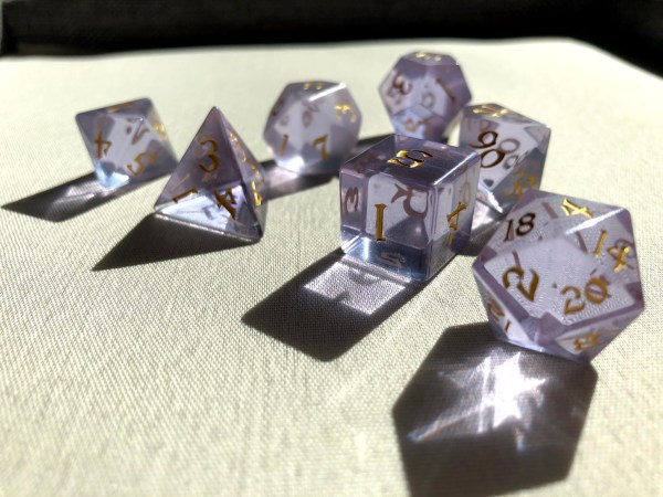 sharp-edged lilac gemstone dice