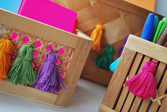 14tassel upcycled desk organizer baskets