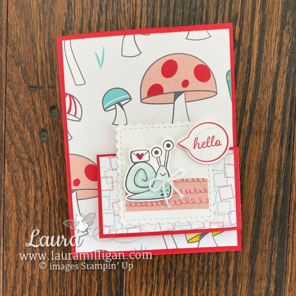 Hello card created with the Snail Mail Bundle from Stampin' Up! Card by Laura Milligan