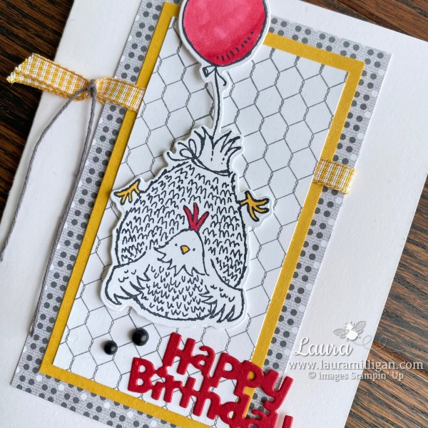Hey Birthday Chick Happy Birthday Card by Laura Milligan. Shop Online 24/7 and earn Free Bees! Closeup