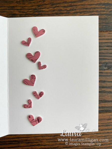 create this card using the Lots of Hearts Bundle from Stampin' Up! Laura Milligan, I'd Rather Bee Stampin'