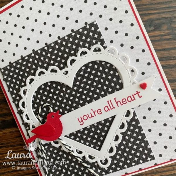 Make this card using the Lots of Heart Bundle from Stampin' Up! Black and White card created by Laura Milligan, I'd Rather Bee Stampin'. Earn Free Product through my Free Bees program