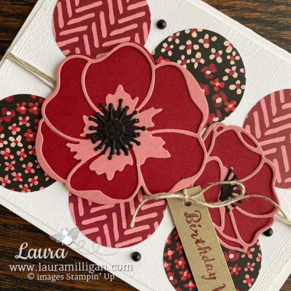 create this beautiful hand stamped card with the Poppy Moments Dies by Stampin' Up! created by Laura Milligan, I'd Rather Bee Stampin'