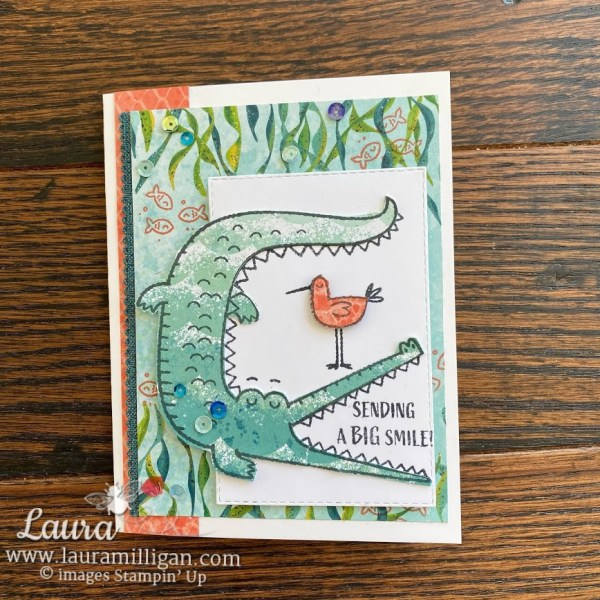 Create a Crocodile Card Oh Snap by Laura Milligan demonstrator Stampin Up Earn Free Product