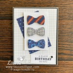 create a masculine card with the handsomely suited bundle Laura Milligan demonstrator Stampin Up!