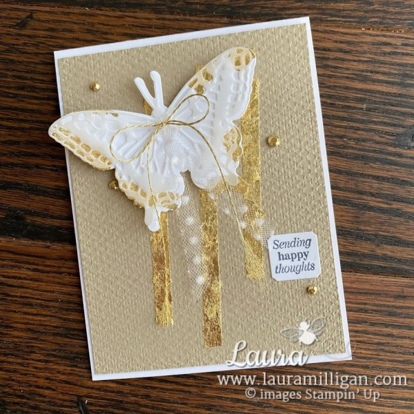 create this beautiful butterfly brilliance with gilded leafing by Stampin' up! Laura Milligan demonstrator