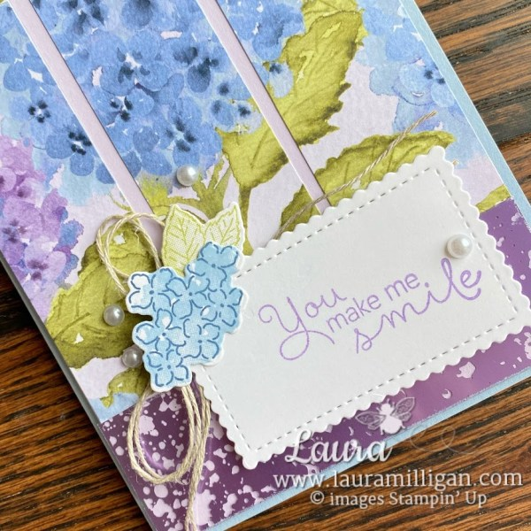 make a hydrangea card with mercury glass by Laura Milligan Stampin' Up! Earn FREE Product