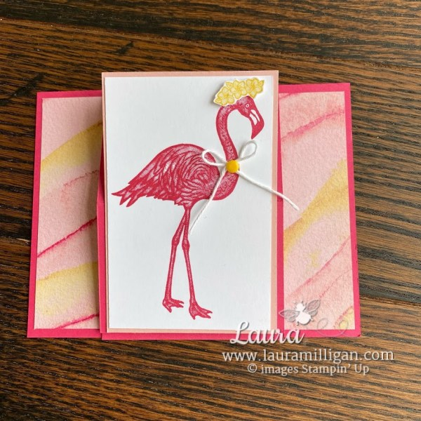 Friendly Flamingo Easel Card by Laura Milligan Stampin' Up!
