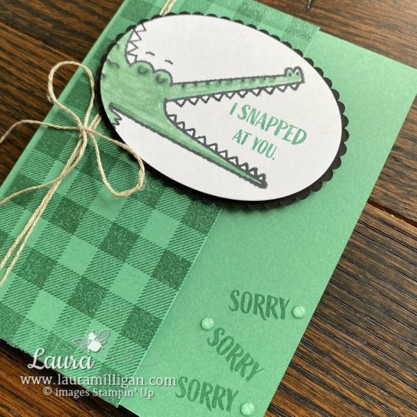 create a hand stamped card with the Oh Snap Stamp Set by Stampin' Up! Laura Milligan demonstrator Earn Free Bees