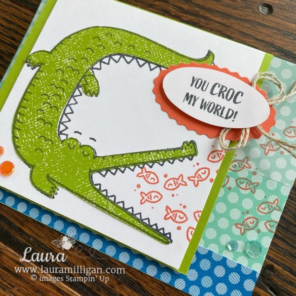 create this hand stamped card with Oh Snap stamp set by Stampin' Up! Laura Milligan demonstrator Earn Free Product