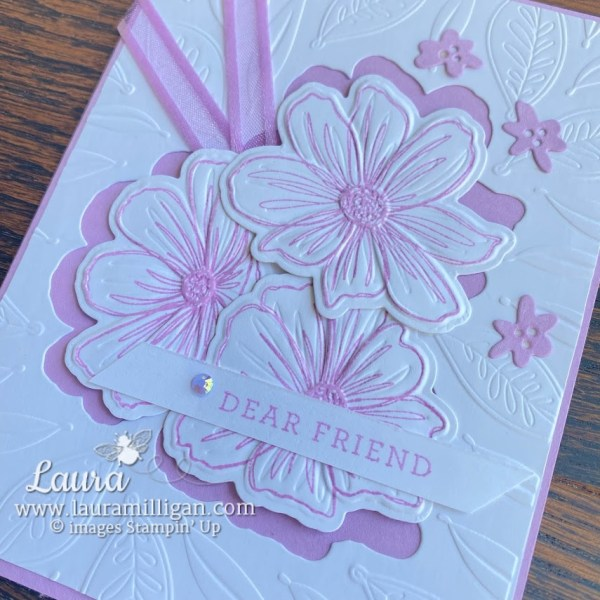 art in bloom hybrid embossing folder hand stamped cards by Laura Milligan Million dollar Achiever