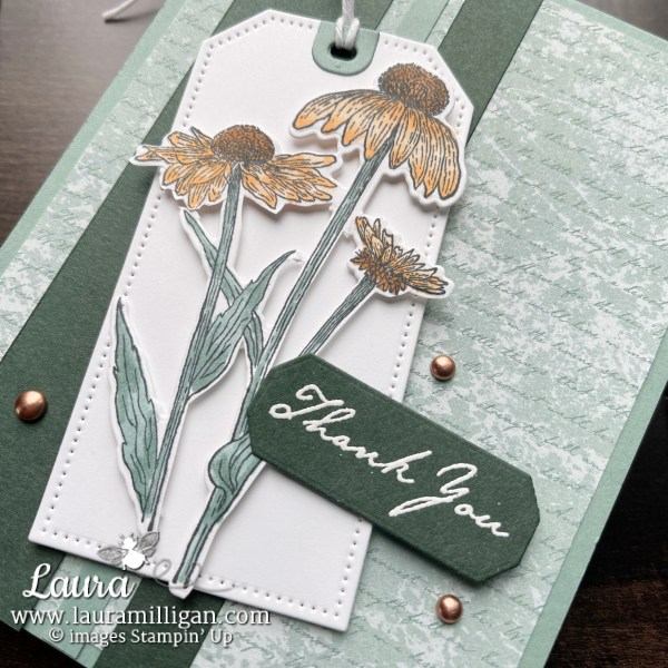 SNEAK PEEK Harvest Meadow Suite by Stampin' Up! Laura Milligan, I'd Rather Bee Stampin' Thank You Card