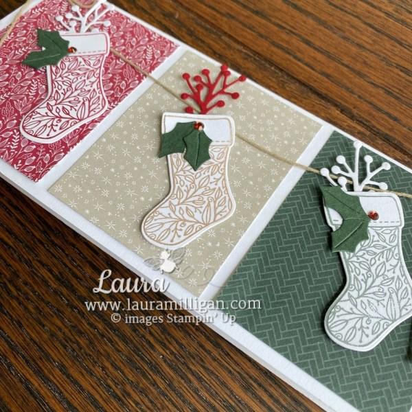 Slimline Christmas Card by Laura Milligan Stampin' Up! demonstrator Tidings & Trimmings Bundle