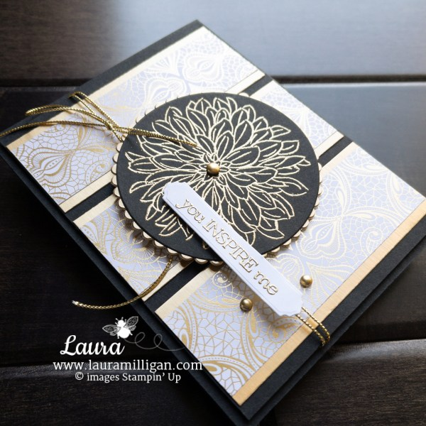 Create this black and brushed gold card using the Dahlia Stamp Set from Stampin' Up! Card by Laura Milligan Earn Free Bees Shop Online