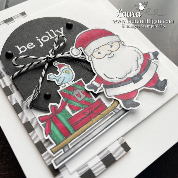 Be Jolly Holiday Card with Santa - Stampin' Blends by Stampin' Up! Laura Milligan I'd Rather Bee Stampin