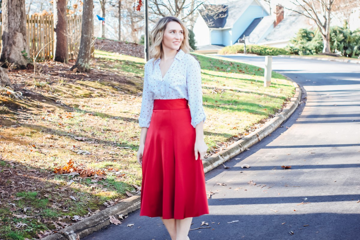 Red Satin Midi with Heart Blouse styled for work wear