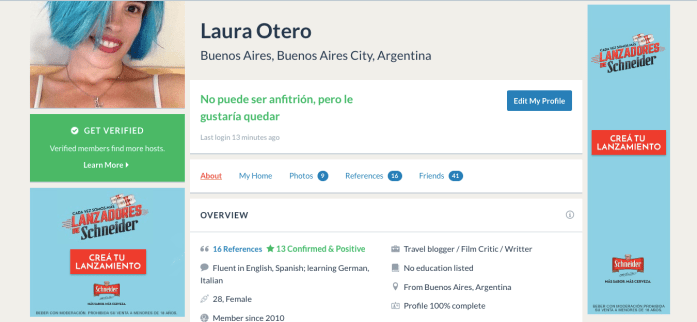 Perfil Couchsurfing