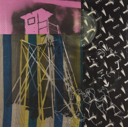Watchtower with Geese, 1987/88, Resin and acrylic paint on various fabrics, 114 1/4 x 114 1/4 in.