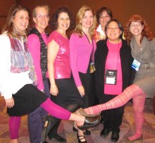 We all wear pink in solidarity with organizer Sylvia Vardell's breast cancer fight. Go, Sylvia! Amy Ludwig Vanderwater, Mary Lee Hahn, Leslea Newman, Irene Latham, Janet Fagal, Janet Wong, Laura Purdie Salas--all from our poetry session
