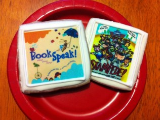 The book cookies he got of BookSpeak and Stampede (and there were ones of A Leaf Can Be..., too)!
