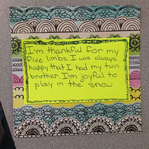 Student work: a thankful hand