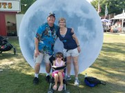 Laura with drum corps friend Flash, and his granddaughter