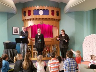 After the show, John, Heather (another librarian), and Kim answer questions from the audience.