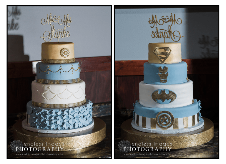 4 tier super hero wedding cake