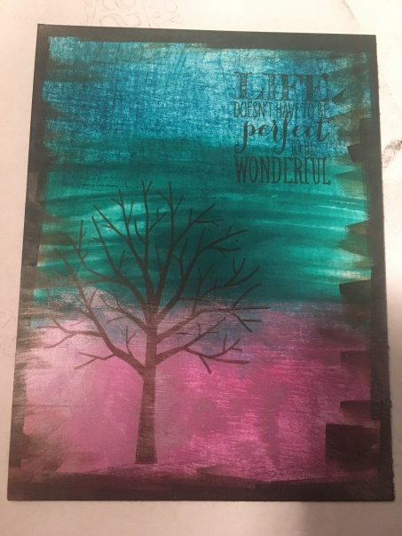 Tree Silhouette stamped on Aqua Ombre Background