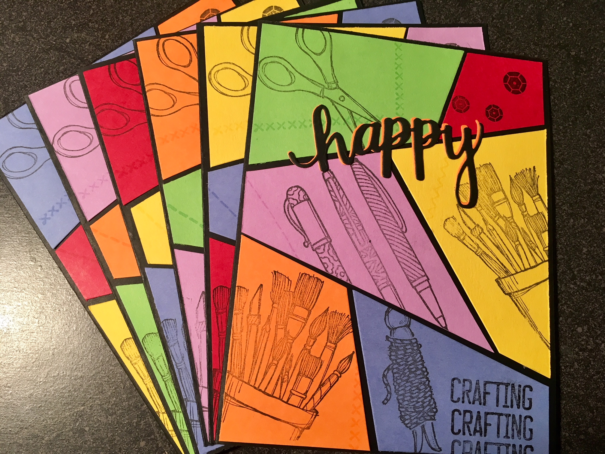 Stack of stamped crafty comic cards_wide