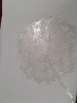 Versamark Dandelion stamp embossed clear