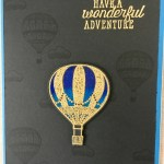 gold embossed stamped up and away balloon colored with prismacolor pencils