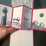 High Tide Nautical Lighthouse pop up card created with stamps and real red and deep blues